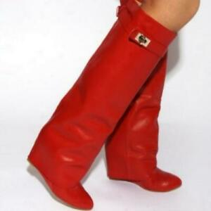 Womens Wedge Heel Leather Fold Over Knee High Boot Chic Fold Over Boot Shoes