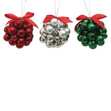 New ! Christmas Tree Ornaments Kissing Bell Ornament Red Green Silver Assorted