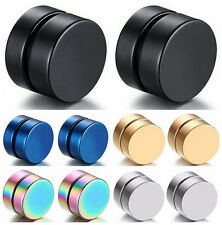 Fake Steel Expander MAGNETIC Round Stretcher NO Piercing ear Hole stud Earring V