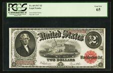 U.S.  1917  $2 LEGAL TENDER BANKNOTE, GEM UNCIRCULATED, FR-60, CERTIFIED PCGS 65