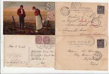 Lot 4 cartes postales timbrées timbres type blanc 1c 2c 4c type sage 10 c 1901