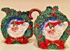 1996 Fitz and Floyd Christmas Cream & Sugar Set Double Sided Santa & Holly