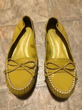 COACH Junie Mustard Patent LOAFER Bow Slip On Stretch Flats MOC Toe Women's 8 B
