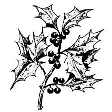 HOLLY BRANCH unmounted rubber stamp, Christmas, winter #19