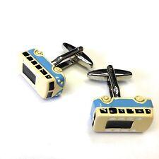 """JustforMoo """"Cars"""" Pair of Blue Camper Van Cufflinks (118.1)"""