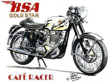 BSA GOLD STAR 1960 Café Racer Britannique rocker motorbike motorcycle carte anniversaire
