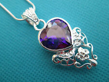 Beautiful Fully Faceted Silver Natural Heart Shaped Amethyst Pendant (nk0494)