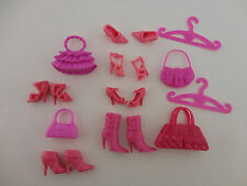 A Large All Pink Barbie Accessories Pack 12 Pieces 4 Purses 4 Pairs of Shoes 2 P