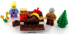 LEGO Picknick Tisch mit Opa und Enkelin, Parkbank, Essen, Baum und Blumen, NEU