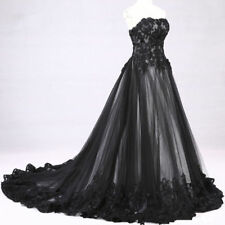 Gothic Black Lace Wedding Dress Victorian Sleeveless Bridal Gown Lace-Up Back