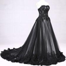 2018 Victorian Gothic Lace Wedding Dress Black Bridal Gown Custom Size 4-18++