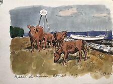 Aquarell Impressionist Karl Adser Küste mit Kälbern und Boot 31,5 x 24
