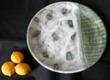 STUDIO POTTERY Large Tri-colour Green Bowl Charger Plate