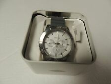 Fossil mens watch BQ1623 stainless/white facegrey resin band  NWT +Fossil tin