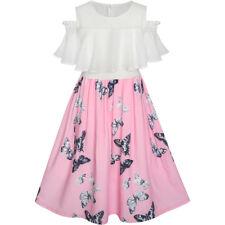 Girls Dress Chiffon Butterfly Ruffle Cold shoulder White Pink Age 7-14 Years
