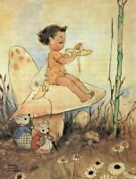 MABEL LUCIE ATTWELL CHARMING ORIGINAL BOOK PRINT 1990's Little Elf  Fairy Shoes