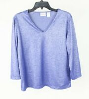Chico's Blue Silver Sparkly Shiny Top Shirt Blouse Size Large 2