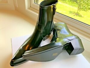 CALVIN KLEIN 205W39NYC BLACK PATENT LEATHER BOOTS SHOES US10/EU43 ITALY