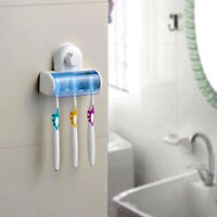 Home Bathroom Wall Mount 5 Toothbrush Spin brush Suction Holder Stand Rack DL5