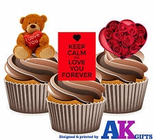 Keep Calm Teddy Flores Rosa Love Mix 12 Comestibles stand-up Cup Cake Toppers