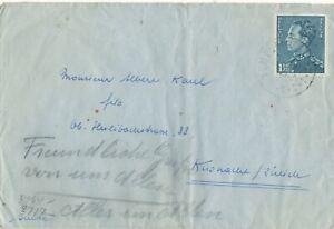 BELGIUM BELGIË BELGIQUE # 426 x b COVER TO SWITZERLAND CENSORED WW II (1941)