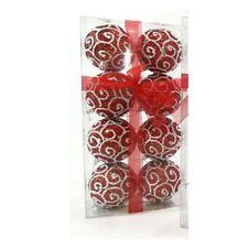 Palline rosse  bianca per albero di natale da addobbi decorazioni natalizie 6CM