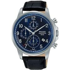PULSAR MEN'S 43MM BLACK LEATHER BAND STEEL CASE QUARTZ BLUE DIAL WATCH PM3073