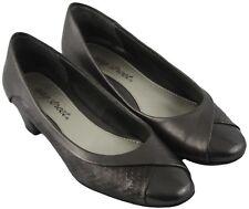 Easy Street Womens Ladies Pewter Slip On Block Kitten Heels Shoes Size 5M