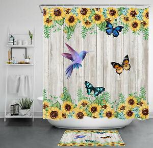 Rustic Planks Sunflower Butterfly Hummingbird Shower Curtain Set Bathroom Decor