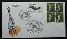 Germany France Joint Issue Space 1987 Rocket Bat (joint FDC) *dual cancellation