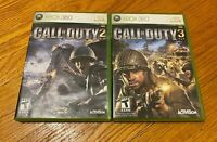 Call of Duty 2 & 3 Game Lot Microsoft Xbox 360 COMPLETE ACTIVISION FAST SHIPPING