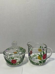 Anchor Hocking Clear Glass Creamer & Sugar Set w/Hand-painted Spring Flowers