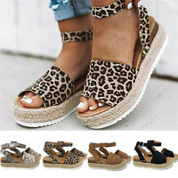 Women's Ankle Strap Flatform Wedges Shoes Espadrilles Summer Sandals Slingback