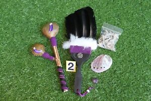 Black Smudge Feather Kit incl Abalone Shell - Sage - Amethyst - Rattle (2)