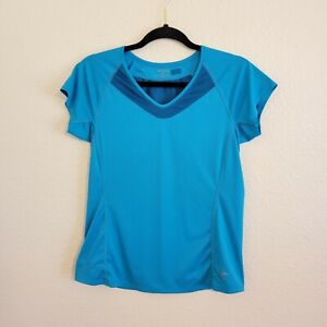 Arcteryx Women's Size S Blue Short Sleeve Athletic Tee Shirt Top V Neck Fitted