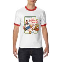 Let's Summon Devil funny Ringer T-shirt Men's Cotton Tops Short Sleeve Tees