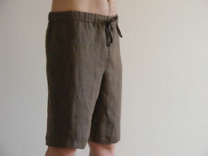Mens Linen Long Pajama Home Shorts Soft 100% Linen