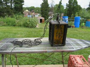 Vintage Medieval Gothic Hanging Chandelier Light Lamp Black Amber Glass