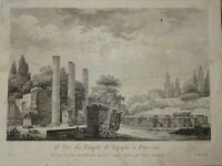 BELLE GRAVURE XVIII° VUE TEMPLE MYTHOLOGIE POUZZOLS NAPLES NAPOLI ITALIE ITALIA