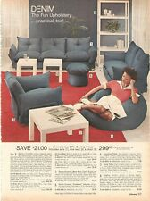 VINTAGE 70'S DENIM FURNITURE COUCH CHAIR BEANBAG CATALOG PRINT ADS CLIPPING