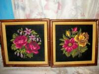 VINTAGE ROSES NEEDLEPOINT PICTURES BAMBOO WOOD GREAT COLOR COTTAGE CHIC SHABBY