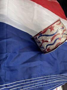 Red White Blue Banner Nylon & Patriotic Wide Ribbon Burplap NEW 228 Long !