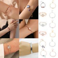 Fashion Women Love Heart Charm Bangle 18K Gold Plated Austrian Crystal Bracelets