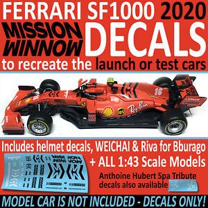 FERRARI SF1000 2020 Mission Winnow 1/43 DECALS + more options Water Slide Decals