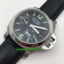 40mm Seagull Gangreserve schwarzes Zifferblatt Parnis poliert bezel datum watch