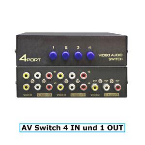 E32C 4*Weg Audio Video AV RCA Switch Selector Box Splitter Umschalter 3RCA Kabel