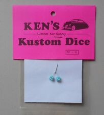 BABY BLUE w WHITE DOTS DICE 1:24 1:25 KEN'S KUSTOM CAR MODEL ACCESSORY D6