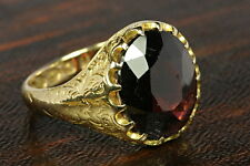 LARGE & HEAVY QUALITY VICTORIAN ANTIQUE ENGLISH 18K GOLD GARNET GLASS RING 1864