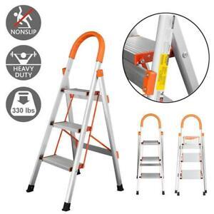 Non-slip 3 Step Aluminum Ladder Folding Platform Stool 330lbs Load Capacity