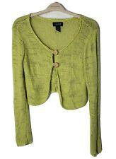 C. A. Sport Women's Cardigan Sweater Green Long Sleeve Crop Loose Weave Sz Small
